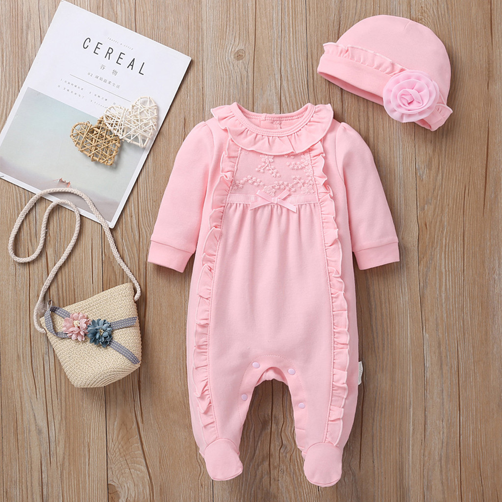 newborn baby girl clothes 6 6 months Newborn Infant Baby Girls Solid  Ruffles Floral Romper Jumpsuit+Hat Outfits Sets #C