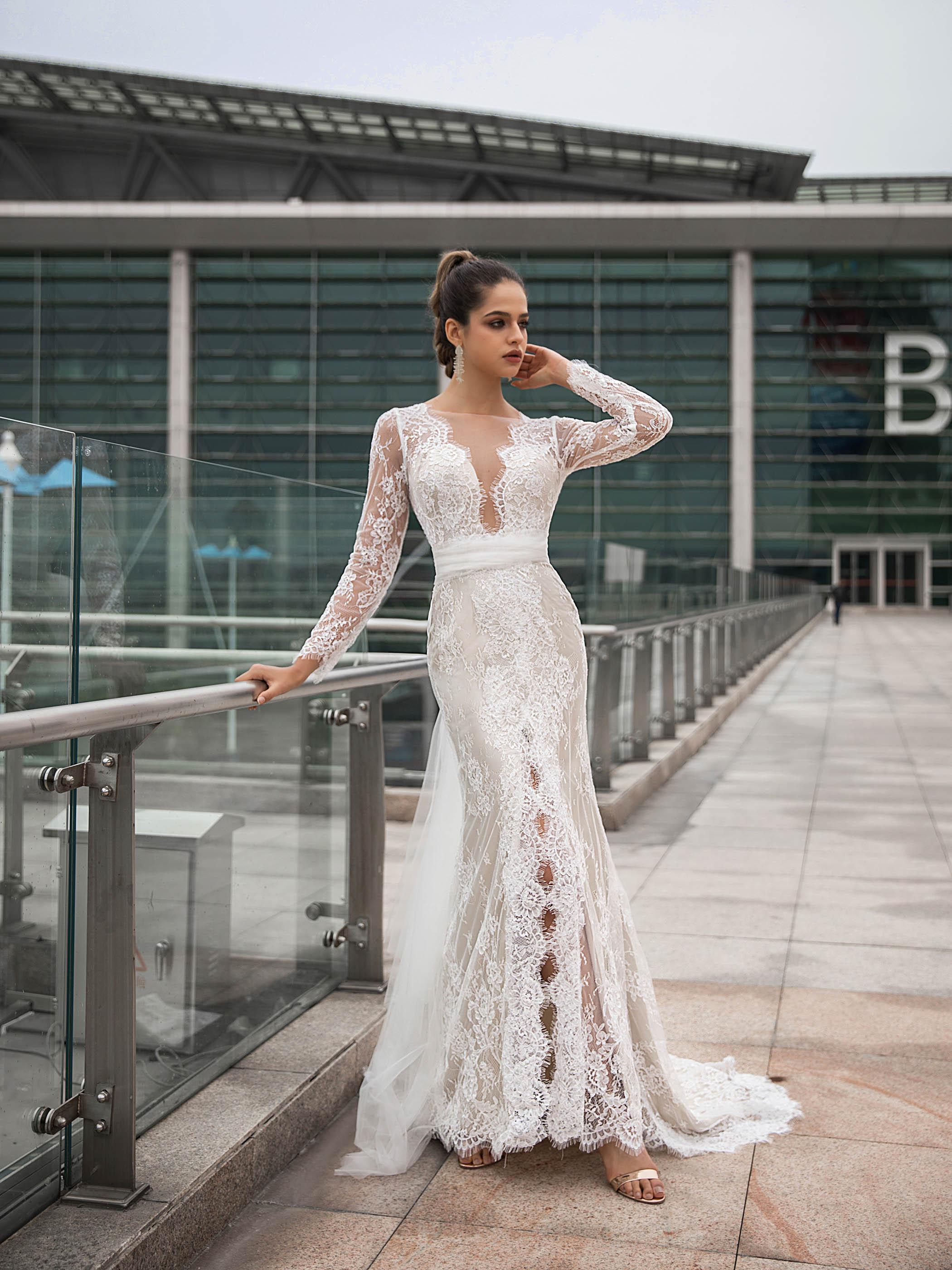 Tanpell Elegant Lace Mermaid Wedding Dress Long Sleeves Backless  Sashes Court Train Simple Garden Gown Custom Wedding Dress 202