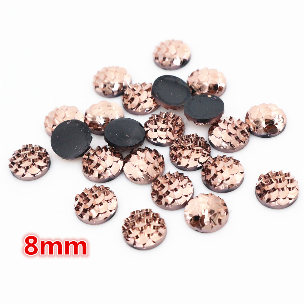 New Fashion 8mm 40pcs Rose Gold Colors Fish Scales Style Flat Back Resin Cabochons For Bracelet Earrings Accessories-O5-18