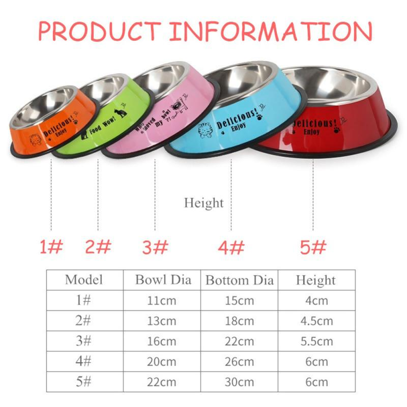 Durable Stainless Steel Non-Slip Dog Puppy Cat Animal Feeding Food Bowl Dish Random Color Water Bottle Food Dropshipping 10