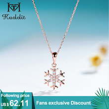 Pendants Snowflake Fine-Jewelry Gemstone Rose-Gold Natural Diamond Kuololit Women Luxury