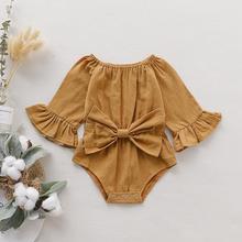 Хлопковый однотонный комбинезон с длинными рукавами и большим бантом для новорожденных девочек 0-24 месяцев; выберите размеры