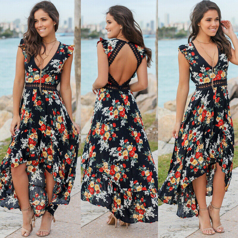 Women Sommer  Casual Lange Maxi Abend Party Cocktail Strandkleid Clubwear