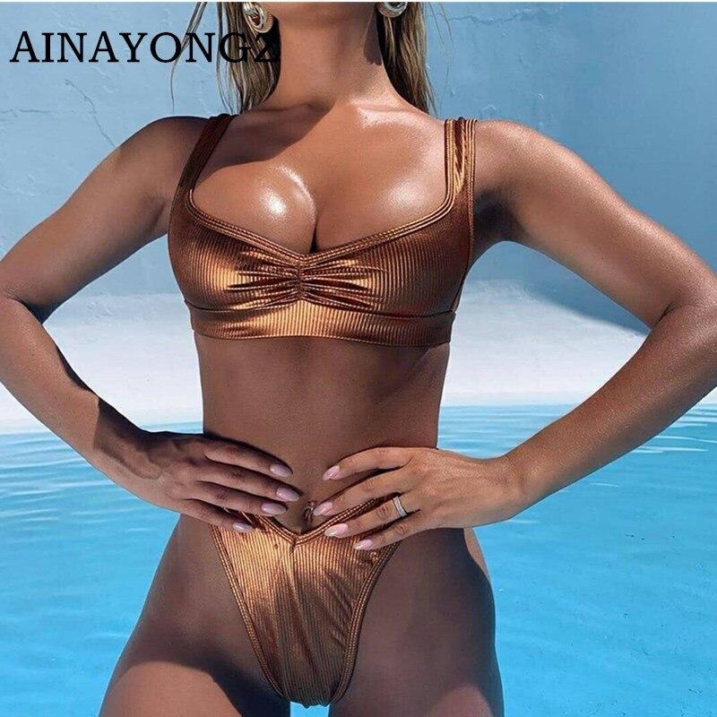 Sexy Bikini Set Swimwear Women Brown Invisible Stripe Mode Bathing Suit Female Split Push Ups Swimsuit Bikinis Mujer 2020 New