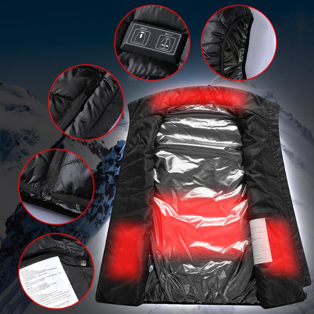 4 зоны обогрев жилет куртка USB мужчины% 27S зима двойное управление интеллектуальный постоянный температура электричество обогрев одежда открытый жилет