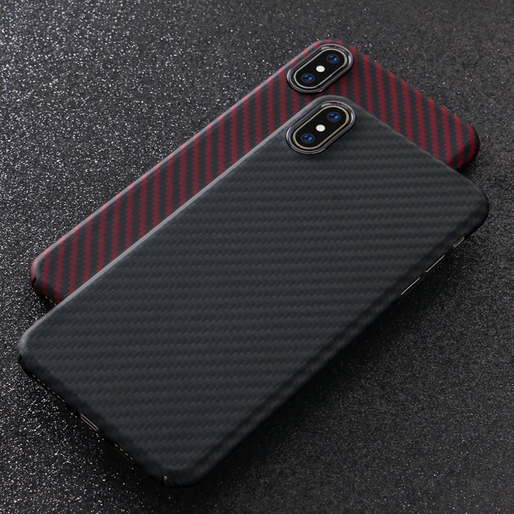 0.7mm Ultra Thin Luxury Carbon Fiber Pattern For iPhone XS Max Case Cover Aramid Fiber Case For iPhone XS Max Cover Glossy Black