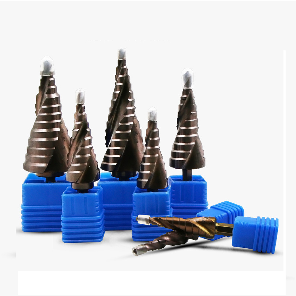 Metric Spiral Flute The Shape Hole Cutter 4-12mm 4-22mm HSS Steel Cone Drill Bit Set HSS Co M35 Steel Step Sharpening