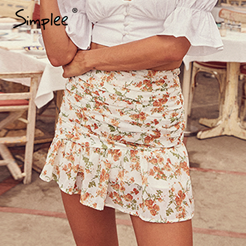 Simplee Bohemian Floral Print Women Skirt Elegant A-line Ruffle Asymmetrical Mini Skirt Summer Holiday Style Ladies Skirts 2020