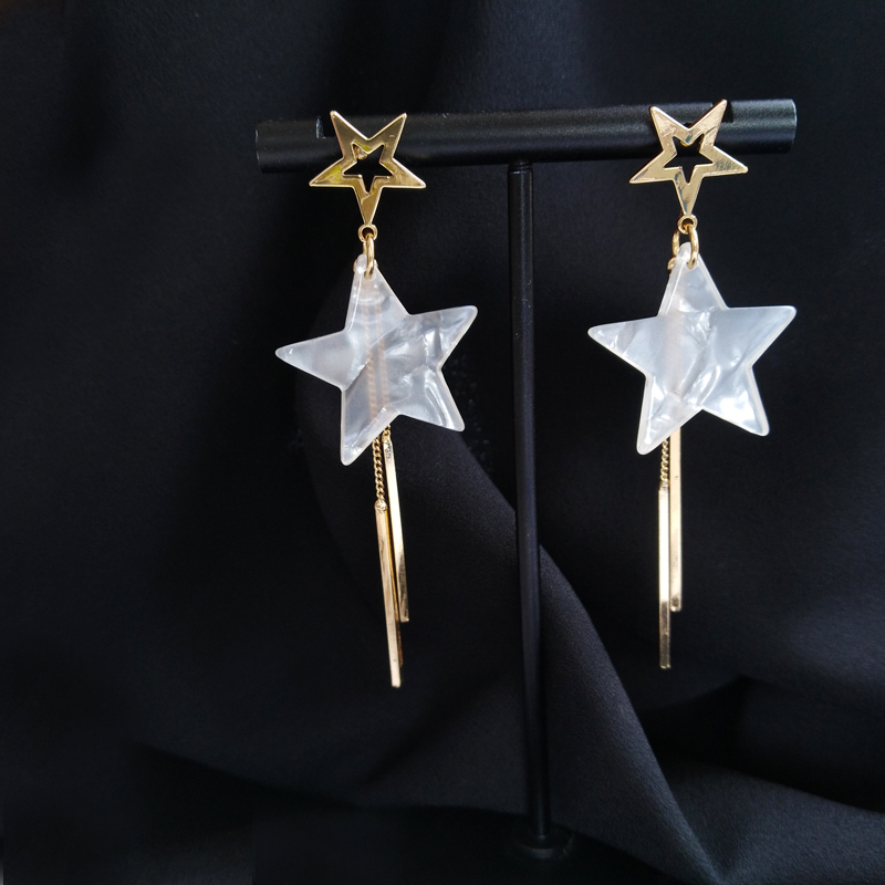 Timlee E323 New Personality Hollow Out Five-pointed Star Tassels Alloy Long Drop Earrings,Sweet Jewelry Wholesale