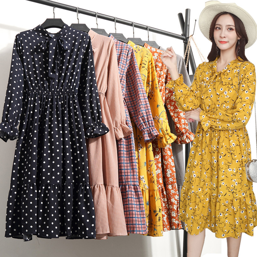 Hipster Long Sleeve Floral-Print Chiffon Dress 2019 Autumn New Products Mid-length Pleated Flounced Base Skirt Women's