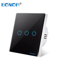 BONDA Touch Switch AC 110-220 V Wall Light Switche EU Standard 4 Colors Crystal Glass Panel 1 Way Touch Screen Switch 1/2/3 Gang