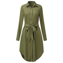 Fall Women Long Sleeve Office Blouse Dress Asymmetrical Sashes Plus Size Shirt Casual