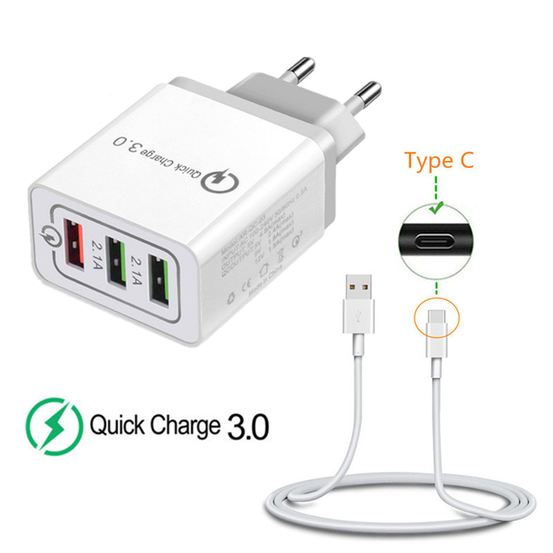 9V 12V Quick Charge QC 3.0 18W USB EU Adapter & Type C USB <font><b>Charger</b></font> Cable For Samsung <font><b>galaxy</b></font> S8 S9 S10 M10 M20 A70 A50 A8 <font><b>A9</b></font> 2018 image