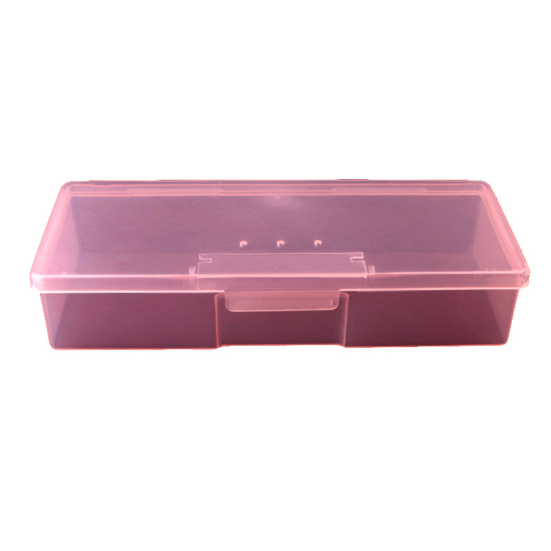 1pc Pink Nail Art Storage Boxes  Plastic Shell Hard High Quality Empty Container Transparent Manicure Tool  Nail Storage Box