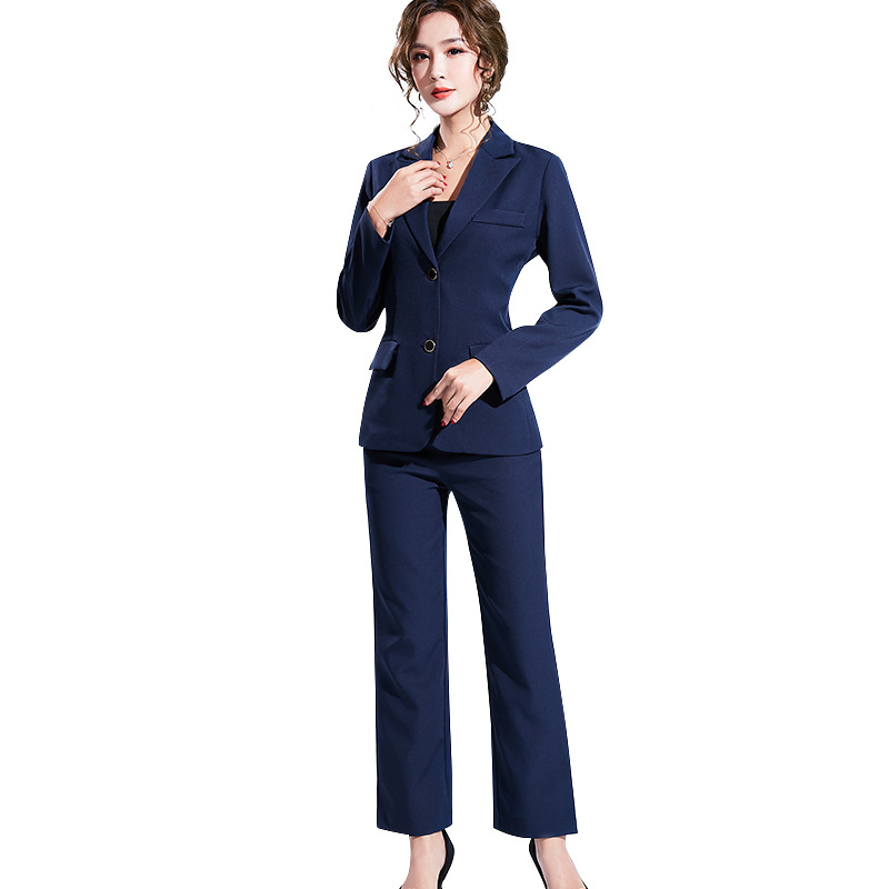 Women's suit 2019 autumn new casual fashion temperament slim slimming solid color single-breasted small suit trousers two-piece 27