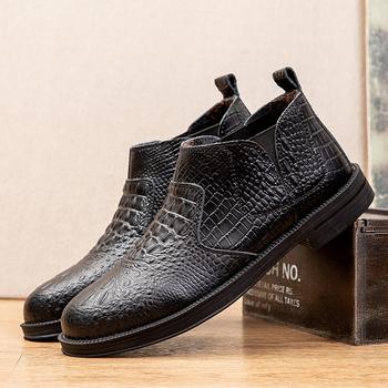 Męskie buty moda Chelsea Boots męskie Slip-on Business oksfordzie oryginalne skórzane zimowe botki męskie odkryte ciepłe buty na śnieg tanie i dobre opinie YD-EVER CN (pochodzenie) Prawdziwej skóry Skóra bydlęca RUBBER Lace-up Pasuje prawda na wymiar weź swój normalny rozmiar