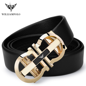 Image 5 - WilliamPolo Genuine Leather Belt Men Cowskin Strap Luxury Belts For Male Alloy Automatic Buckle Fashion Belt Casual Gold PL18335