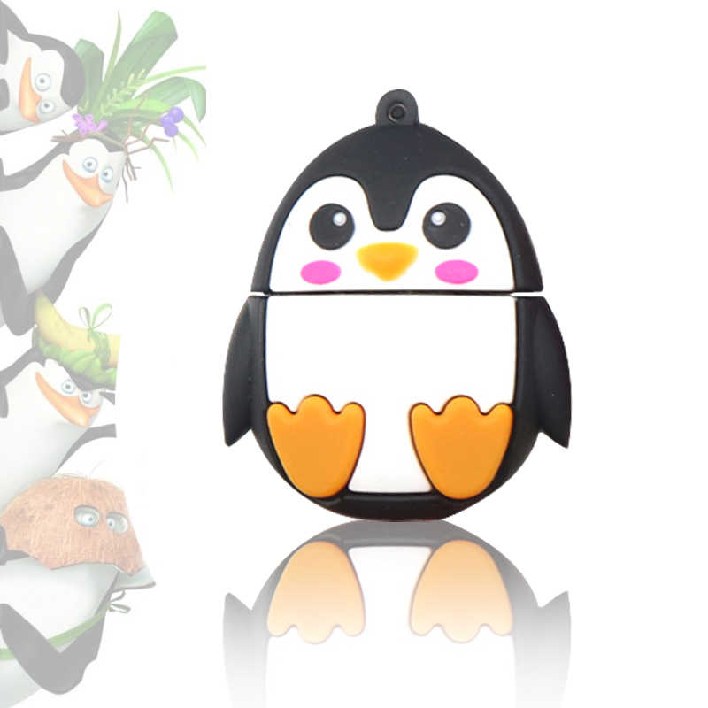 Unidad Flash USB de dibujos animados pluma de los minions 128 GB/64 GB/32 GB/16G Cle Memoria USB llave Pendrive Animado zorro/abeja/pingüino/búho