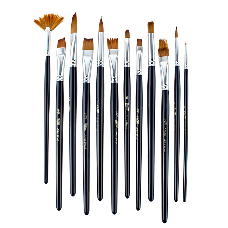 12Pcs Different Shape Wood Nylon Hair Watercolor Paint Brush Set For Beginner Water Color Acrylic Oil Painting Brushes Supplies