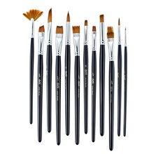 12Pcs Verschiedene Form Holz Nylon Haar Aquarell Pinsel Set für Anfänger Wasser Farbe Acryl Öl Malerei Pinsel Liefert