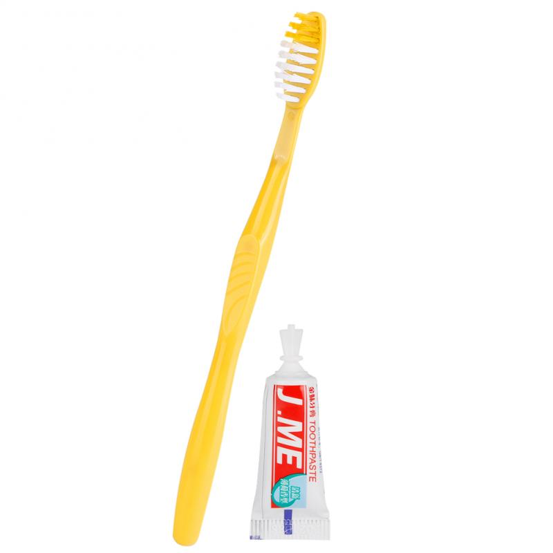 1Pc  Yellow Soft Bristle Toothbrush Kit Professional Plastic Toothbrush Supplies With Toothpaste Travel Wash Gargle Tool TSLM2