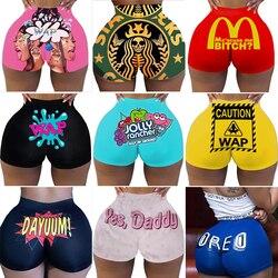plus size high waist shorts for women ladies Summer sexy slim WAP Print Hip-hop Beach Sports Shorts candy snack Wholesale