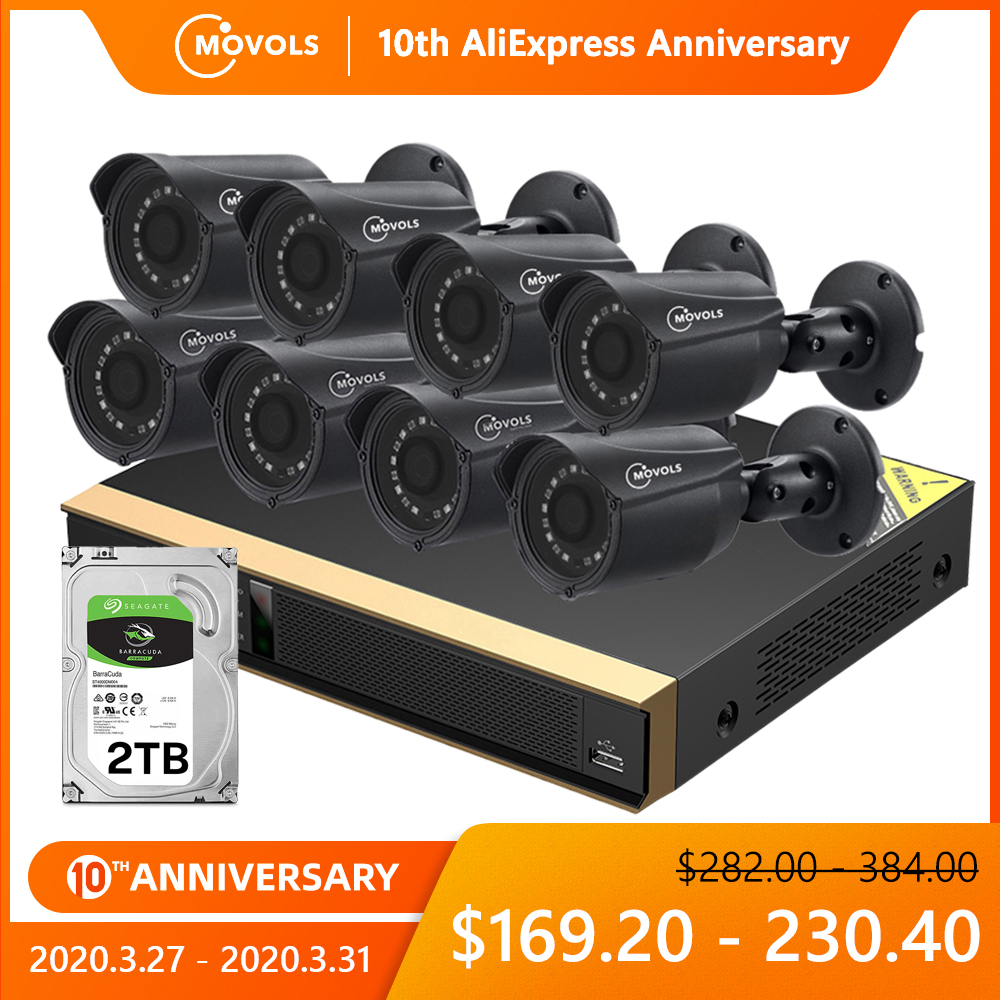Movols 8CH CCTV Camera System 8pcs 1080p Security Surveillance Camera DVR KIt Waterproof Outdoor Home Video Surveillance System