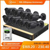 Movols 8CH system kamer cctv 8 sztuk bezpieczeństwa 1080p kamera monitorująca zestaw dvr wodoodporna odkryty wideo z domu system nadzoru
