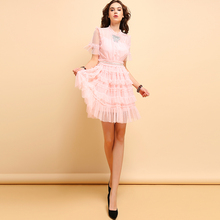 Baogarret Summer Fashion Dress Women's Casual Beading Ruffle Mesh Overlay Elegant Party Collect Waist Pink Cupcatke Dresses girls ruffle knot back mesh overlay dress