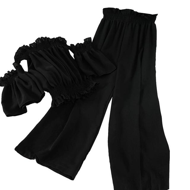 Fitaylor Korean Sexy Slash Neck Off Shoulder Short Shirts Sets Elastic High Waist Chiffon Ankle Length Pants 2 Piece Set Suits 5