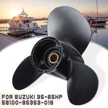 11 3/8x14 hélice de popa para suzuki 35 65hp 58100 95353 019 liga de alumínio preto 13 spline dente 3 hélice do barco da lâmina