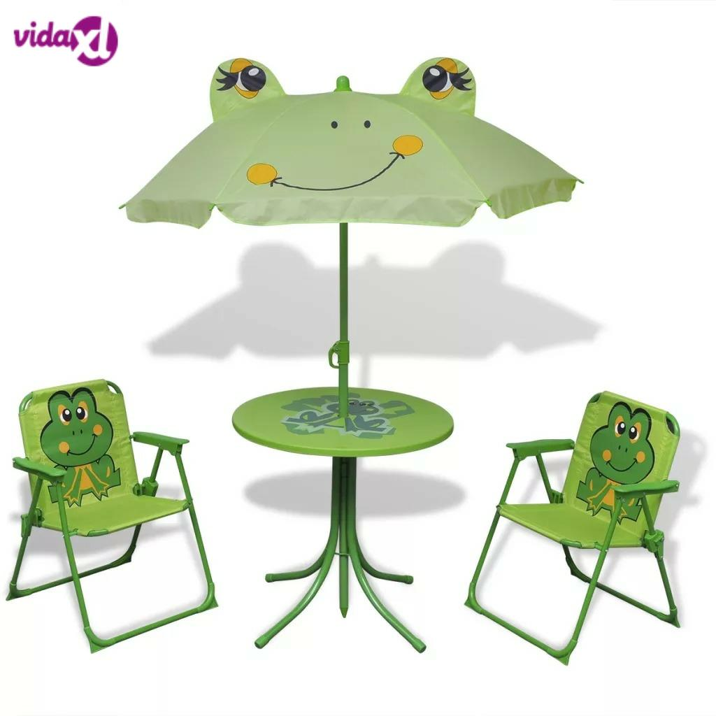 VidaXL 3 Piece Kids' Garden Bistro Set With Parasol Green Steel Tube And Fabric Material Easy Assembly Children Chairs