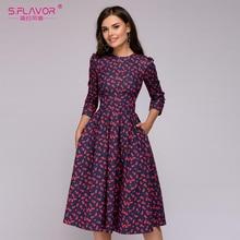 S. HƯƠNG VỊ Nữ Thanh Lịch Chữ A Đầm 2019 Vintage in Đảng vestidos Tay Lửng nữ Slim Mùa Hè