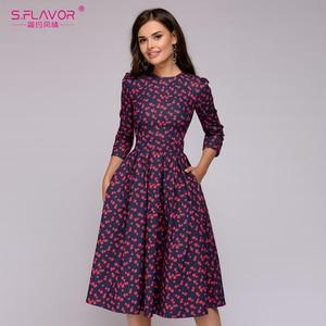 Image 1 - Sabor feminino elegante a linha vestido midi impressão vintage vestidos de festa três quartos manga feminina 2020 outono inverno vestido