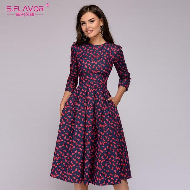 Sabor feminino elegante a linha vestido midi impressão vintage vestidos de festa três quartos manga feminina 2020 outono inverno vestido