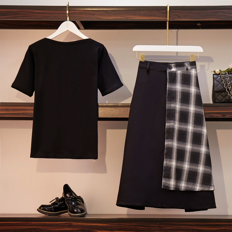 2019 Large Size Dress Fat Mm Summer Wear Short Sleeve T-shirt And Plaid Stitching Skirt Mid-length Two-Piece Set