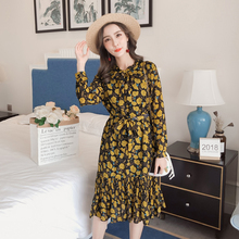 Bowtie Flower Dress Long Sleeve Autumn Printed Pink Lace-up Chiffon Vintage Women Casual All-match Elegant Robe Femme S-XL