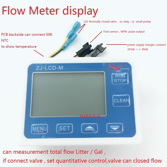 ZJ LCD M Display controller for Hall flow sensor total flow and set how many flow out controller