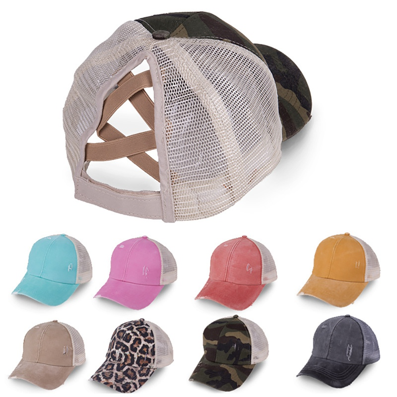 Hüte für Frauen Kreuzmuster Pferdeschwanz Hut Mesh Hysterese Kappen Visier Outdoor Hut Gorras Trucker Hut Leopard Camouflage Baseball Caps