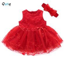 Qunq детское платье с повязкой на голову бантом для малышей