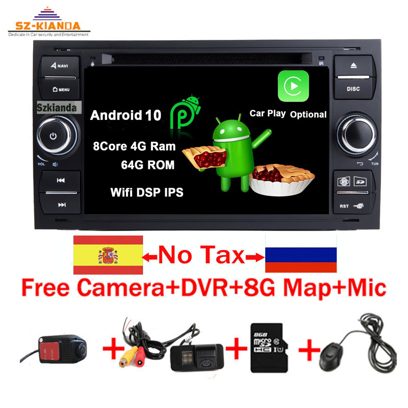 Car Multimedia Player Android 10.0 <font><b>GPS</b></font> autoradio 2 Din 7 Inch For <font><b>Ford</b></font> <font><b>Mondeo</b></font> Focus Transit C-MAX S-MAX Fiesta Car DVD Player image