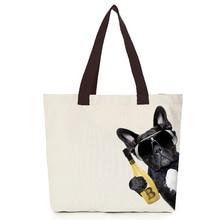 2019 cool dog canvas bag Origina oem custom tote men customize eco bags diy logo shopping with cotton