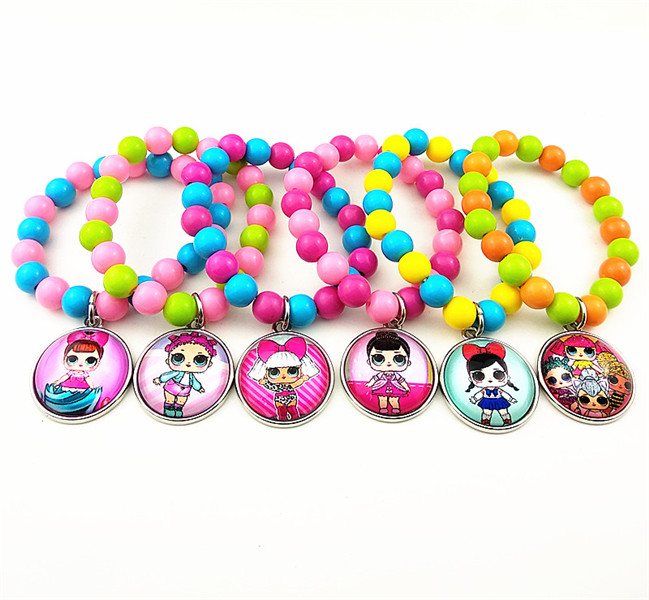24 шт новые стили мультфильм кукла красочные бусы стеклянные браслеты ожерелье брелок кольцо серьги ювелирные изделия серии для девочек - Окраска металла: Светло-желтый цвет