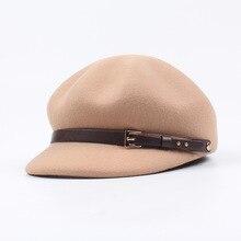 Hats for Women Solid Plain Octagonal Newsboy Cap Men Ladies Casual Wool Hat Winter Beret Painter Belt Buckle