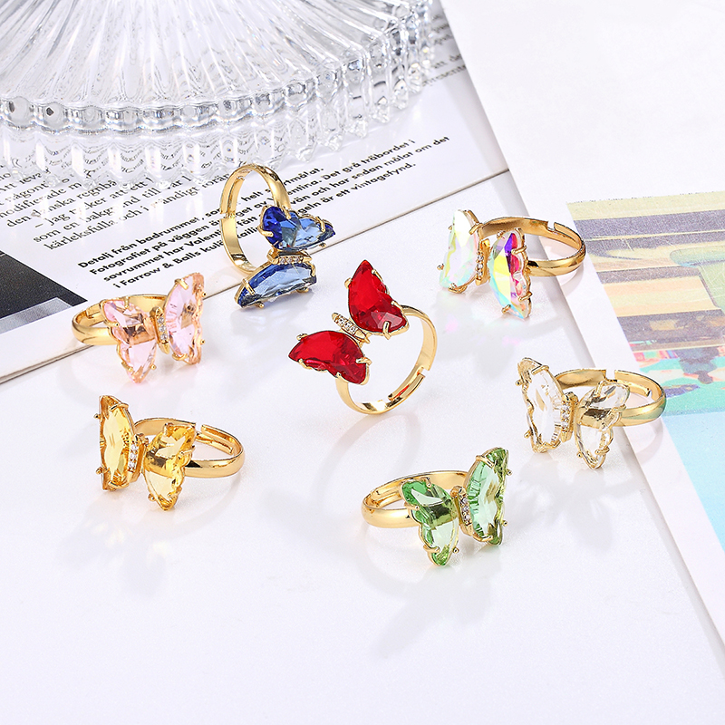 Well-designed butterfly metal punk open adjustable design animal exaggerated ring ladies jewelry gift banquet prom