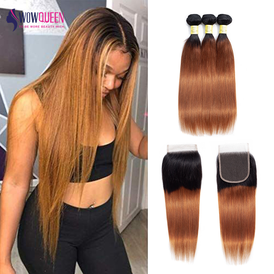 Ombre Bundles With Closure Brazilian 1B/30 Color Human Hair Straight Hair Bundles 3 Bundles With Closure Remy 4x4 Lace Closure