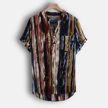 Modne męskie koszule stoją kołnierz nadruk w paski z krótkim rękawem bawełna wysokiej jakości koszula koszule jesienne letnie koszule bluzka nowość tanie tanio JAYCOSIN COTTON MANDARIN COLLAR Pojedyncze piersi REGULAR men shirts Suknem Na co dzień men short sleeve shirt t shirts men t shirts