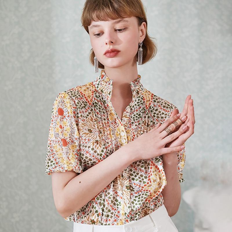 2020 Spring / Summer Puff Sleeves Lotus Leaf Sleeve Collar Heart-shaped Floral Print Short-sleeved Shirt Women