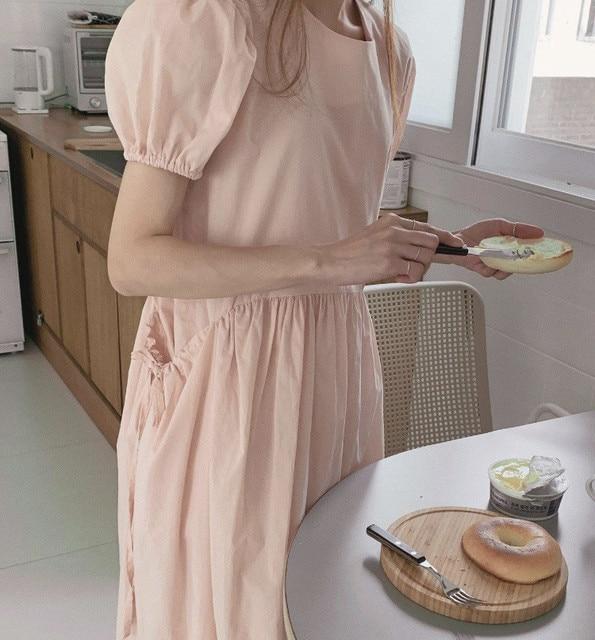 Korean Chic Sweet Temperament Double Pocket Design Slimming Bow Tie Puff Sleeve Dress Female Dress 1