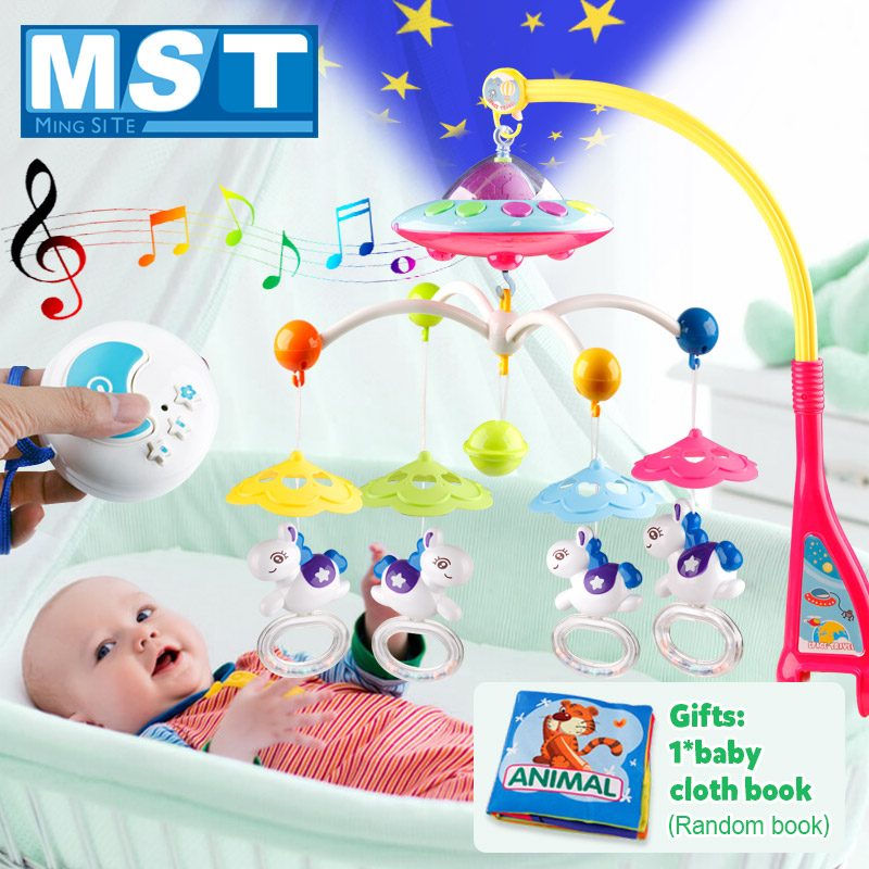 Baby Toys 0-12 Months Newborn Crib Mobile Musical Bed Bell Carousel Hanging Baby Rattles Projection Rattles Toy For Cots Books